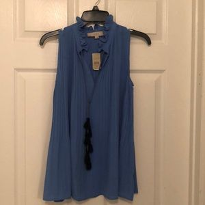 NWT LOFT BLUE CHIFFON BLOUSE WITH TASSEL SZ SMALL